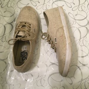 vans authentic lo pro linen skate shoe khaki Sale,up to 48
